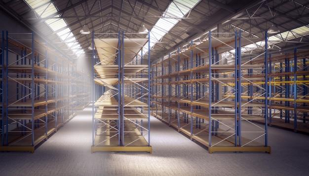 3 dの空の倉庫