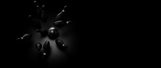ボウリングのゲームに関連する暗いトーンの背景の3 dレンダリング画像
