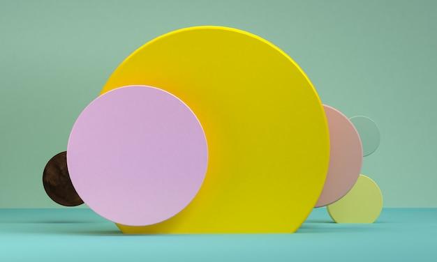 ミニマリストの抽象的な背景、原始的な幾何学的図形、パステルカラー、3 dレンダリング。