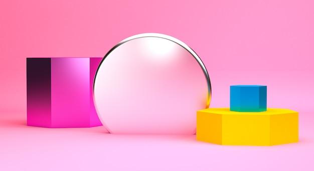 ミニマリストの抽象的な原始的な幾何学的図形、パステルカラー、3 dのレンダリング