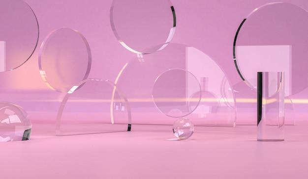 幾何学的抽象デザイン、背景、3 dのレンダリング、トレンドポスター。