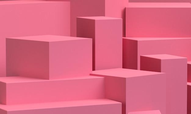 ピンクの幾何学的形状の原始的な幾何学。ミニマリストの抽象的な背景、3 dのレンダリング。