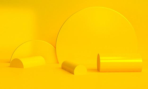 黄色の幾何学的形状のミニマリストの抽象的な背景、3 dのレンダリング。