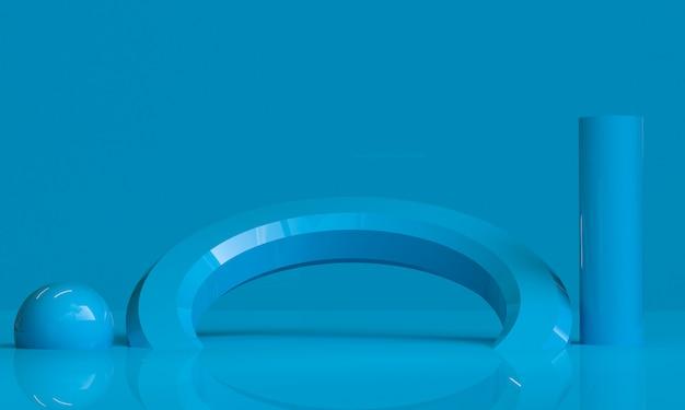 ブルーの幾何学的形状のミニマリストの抽象的な背景、3 dのレンダリング。