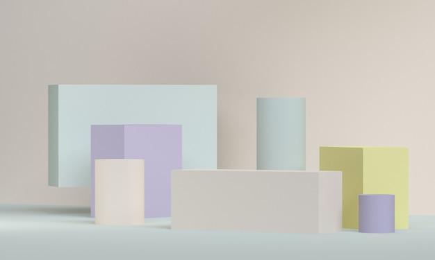 シンプルな抽象的な背景、原始的な幾何学図形、3 dレンダリング。