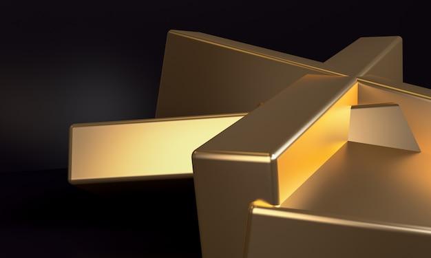 シンプルな抽象的な背景、金の原始的な幾何学的図形、3 dレンダリング。