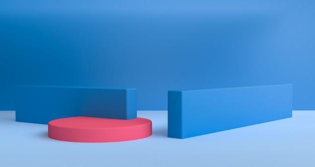 幾何学的形状シーン最小限のスタイル、3 dレンダリング。