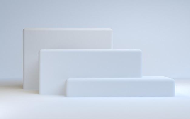 シンプルな抽象的な背景、原始的な幾何学的図形、パステルカラー、3 dのレンダリング。