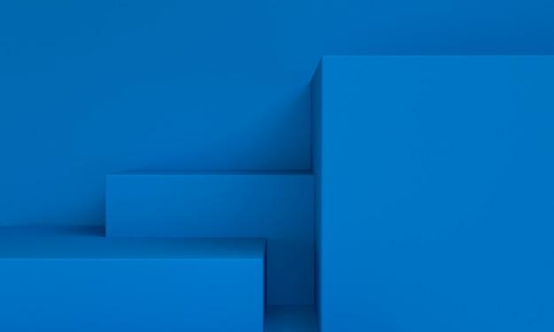 青いミニマリストのプリミティブな幾何学的な抽象的な背景、3 dのレンダリング。
