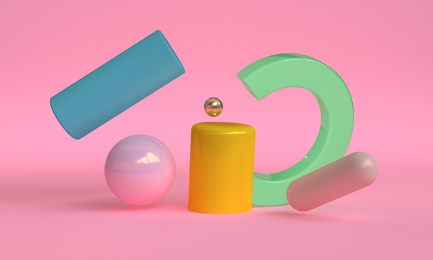 シリンダーボックス球3 dの抽象的なスタイル