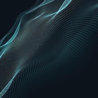 3 dの抽象的な青い幾何学的背景。接続構造科学の背景未来技術