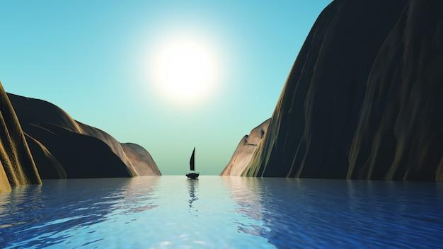 崖のある風景でセーリング3 dヨット