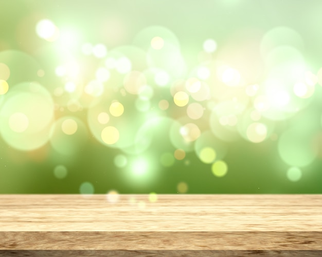 ボケの3 d木製テーブルライトグリーン