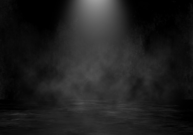 スポットライトと煙のような雰囲気の背景を持つ3 dグランジルームインテリア