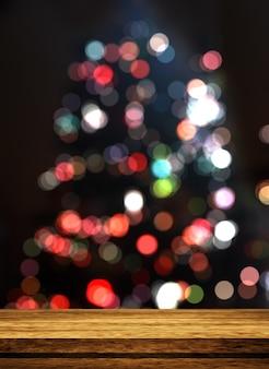 ピンぼけのクリスマスツリーを見渡す3 d木製テーブル