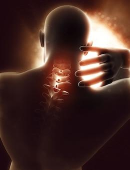 痛みで強調表示された首を持つ3 d男性図