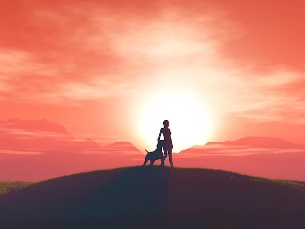 3 dの女性と彼女の犬は日没の風景に対して