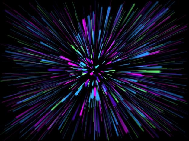 光線と3 dの抽象的なスターバースト