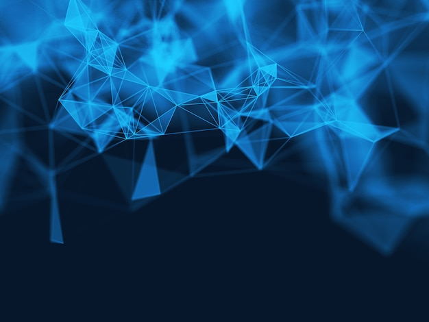 3 dの抽象的な多角形の青い背景