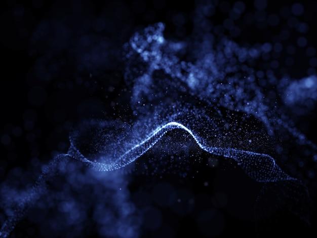 サイバー粒子と浅い被写し界深度の3 dの抽象的なモダンな未来的な背景