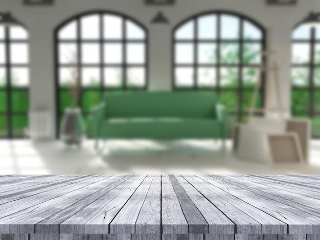 デフォーカスした部屋のインテリアを見渡す3 dの木製テーブル