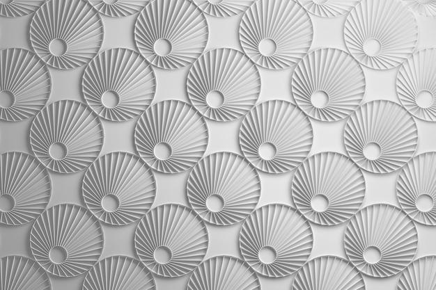 3 dの白い円の花のパターン