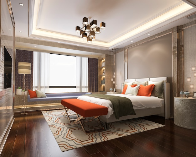 テレビでホテルの3 dレンダリング美しいクラシックオレンジ豪華なベッドルームスイート