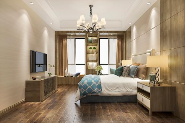 本棚に建てられた3 dレンダリング現代的な木製の寝室