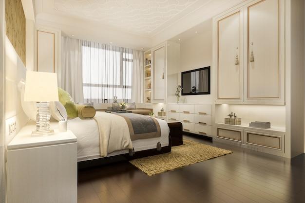 ワードローブとクローゼットの中華風の3 dレンダリング暖かい豪華な古典的な寝室スイートテレビ