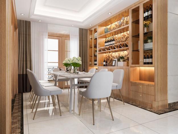 3 dレンダリングモダンなダイニングルームと豪華な装飾のワイン棚付きのリビングルーム