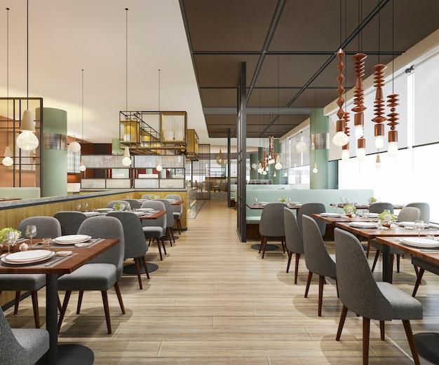 3 dレンダリングロフトと高級ホテルのフロント、ビンテージカフェラウンジレストラン