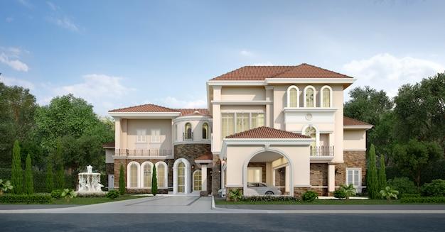 3 dレンダリングのモダンな古典的な家と高級庭園