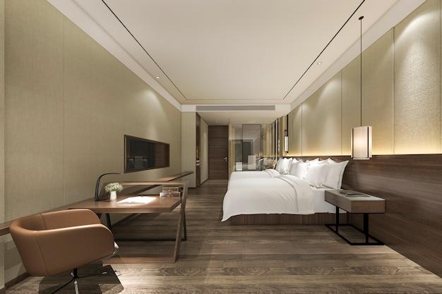 3 dレンダリングモダンで豪華なベッドルームスイート、バスルーム、作業テーブル