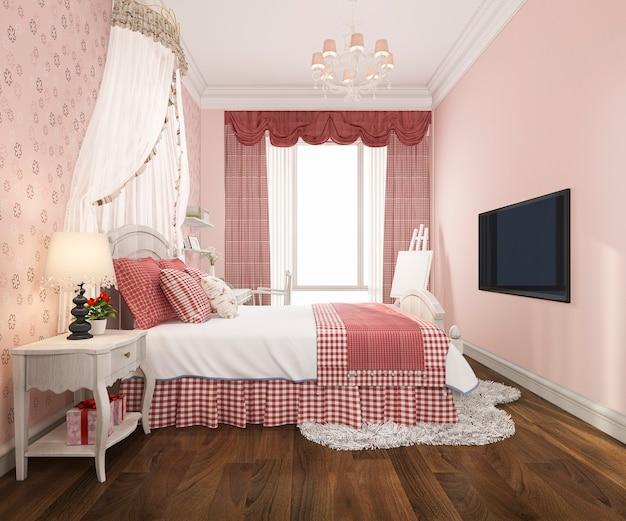 美しいピンクのパステル調の寝室の3 dレンダリング