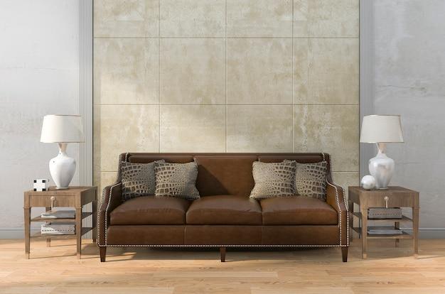 美しい質感の壁と3 dレンダリングの茶色の革のソファ