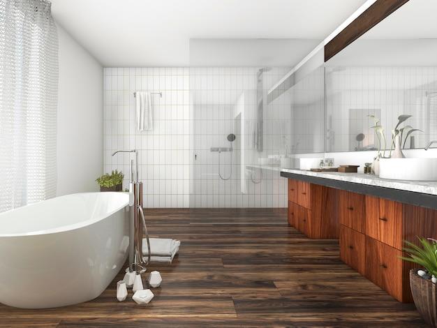 カーテンの窓の近くの3 dレンダリング木とタイルのデザインのバスルーム