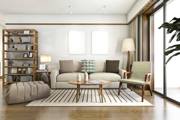 木の装飾が施された3 dレンダリングの白いスカンジナビアリビングルーム
