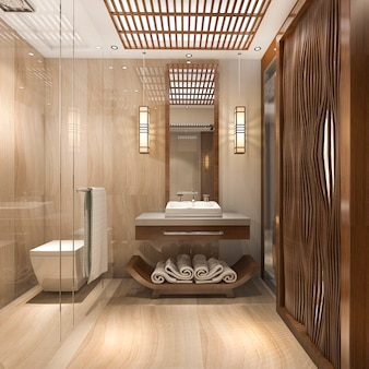 スイートホテルの3 dレンダリングモダンで豪華な木製のバスルーム