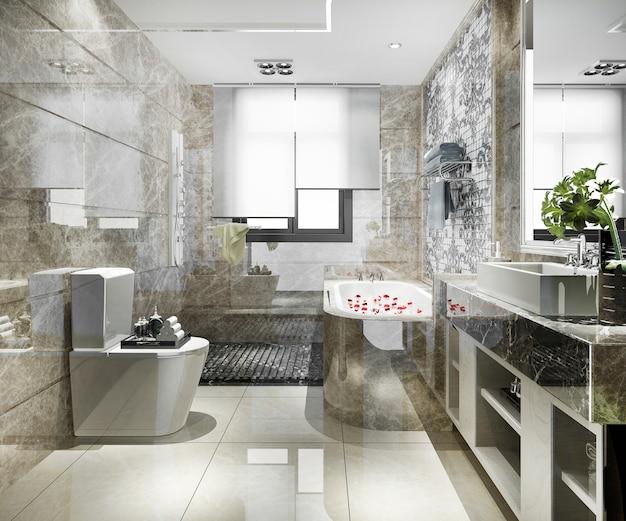 豪華なタイルの装飾が施された3 dレンダリングのモダンなバスルーム