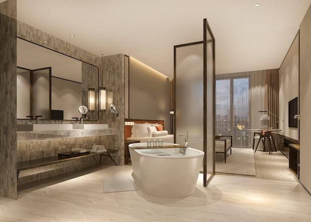 3 dレンダリングモダンで豪華なベッドルームスイートとバスルーム