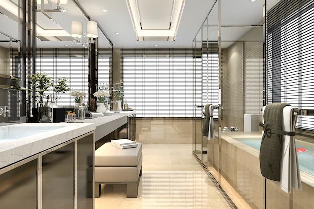 窓からの素晴らしい景色と豪華なタイル装飾が施された3 dレンダリングのモダンなロフトバスルーム