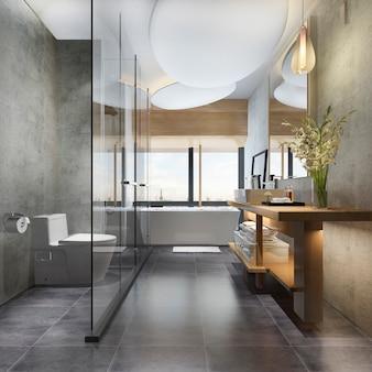 3 dレンダリングの豪華なモダンなデザインのバスルームとトイレ