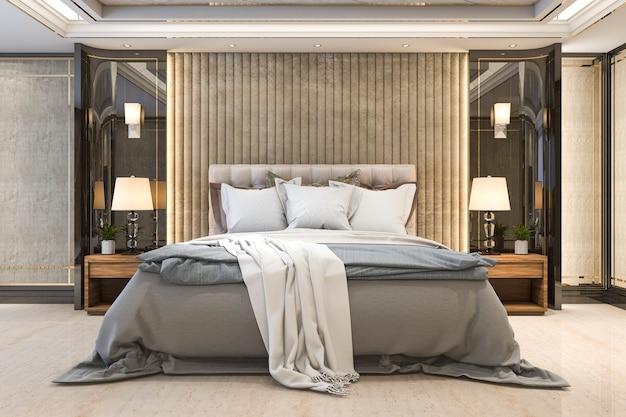 ホテルの3 dレンダリングの美しい豪華なベッドルームスイートテレビ
