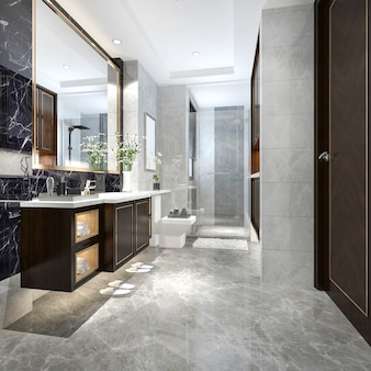 豪華なタイルの装飾が施された3 dレンダリングのモダンなロフトバスルーム