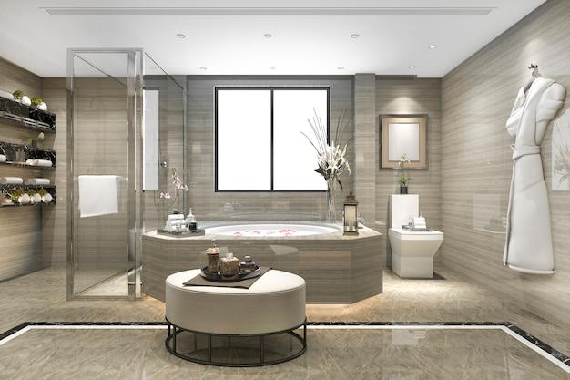 窓からの素晴らしい景色と豪華なタイル装飾が施された3 dレンダリングモダンクラシックバスルーム