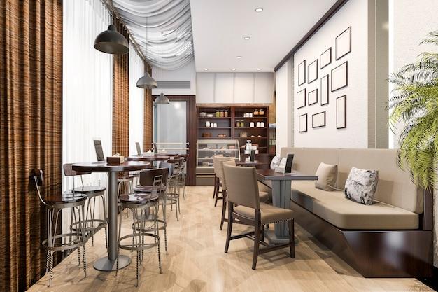 3 dレンダリングロフトと高級ホテルのフロント、カフェラウンジレストラン