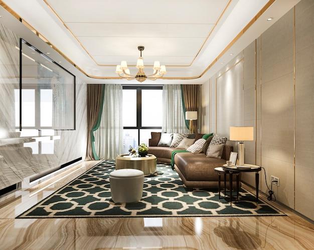 革のソファ付きの3 dレンダリングの豪華でモダンなリビングルーム