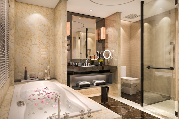 豪華なタイルの装飾が施された3 dレンダリングのモダンでクラシックなロフトのバスルーム