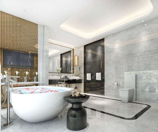 豪華なタイルの装飾が施された3 dレンダリングモダンクラシックバスルーム