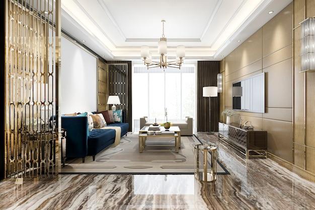 大理石のタイルと本棚の3 dレンダリングの豪華な古典的なリビングルーム